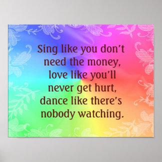 Singen Sie Tanz-Liebe -- Kunst-Druck Poster