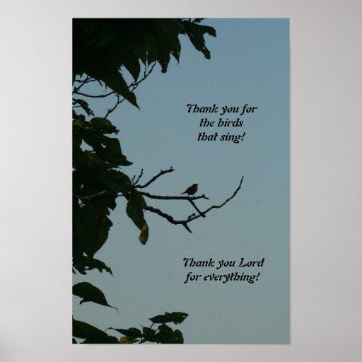 Singender Vogel, danke Lord! Plakat