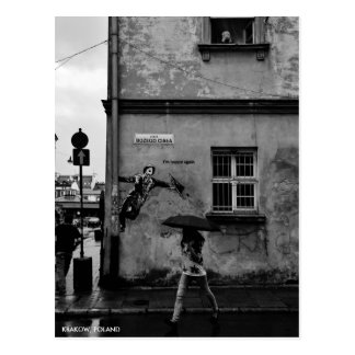 Singin in der Regen-Postkarte, mit Stadt-Text Postkarte