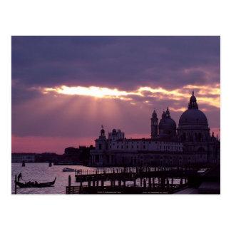 Single-Gondel am Sonnenuntergang Postkarte