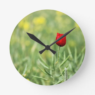 Single Red Poppy Round Wallclock