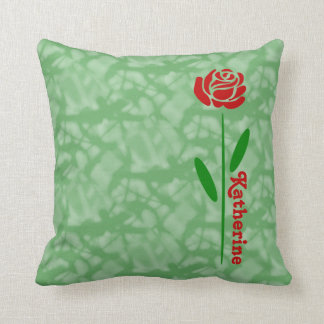 Single-Rosen-Grün-Stamm-Blätter fertigt Namen Kissen