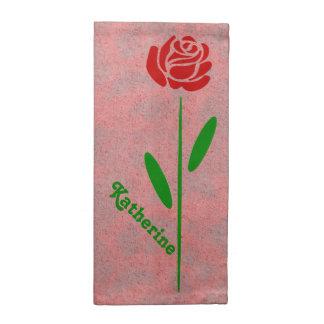 Single-Rosen-Grün-Stamm-Blätter fertigt Namen Stoffserviette