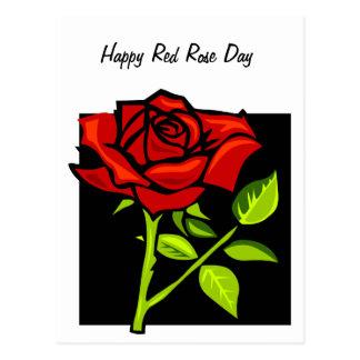 Single-Rote Rose in der vollen Blüte Postkarte