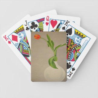 Single-rote Tulpe in einem weißen Vase Bicycle Spielkarten