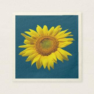 Single-Sonnenblume-dunkle aquamarine Papierserviette