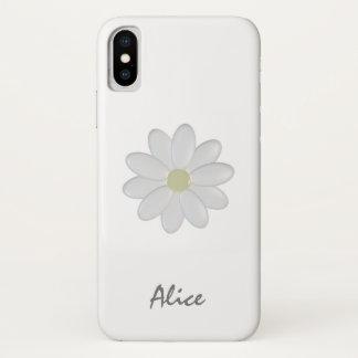 Single-weißer Blumen-individueller Name iPhone X iPhone X Hülle