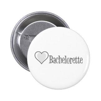 SingleHeart-Bachelorette-Grau Runder Button 5,1 Cm