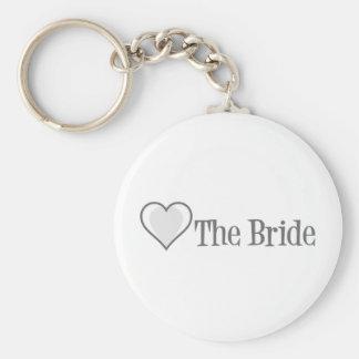 SingleHeart-Braut-Grau Standard Runder Schlüsselanhänger