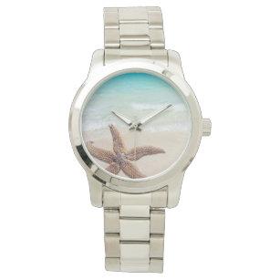 Singlestarfish-Strand-Szene Uhr