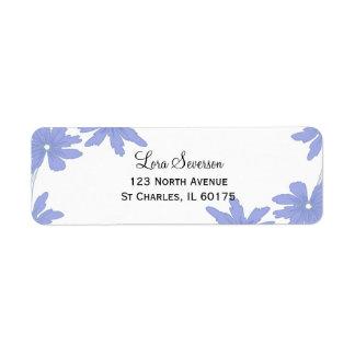 Singrün-blaue Gänseblümchen auf Weiß Rücksendeetiketten