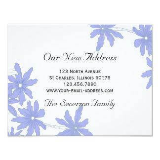 Singrün-blaue Gänseblümchen-neue Adresse 10,8 X 14 Cm Einladungskarte