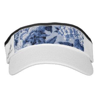 Singrün blaues Vintages BlumenToile Gewebe No.1 Visor
