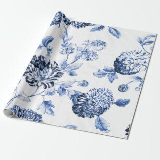 Singrün blaues Vintages botanisches BlumenToile Geschenkpapier