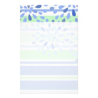 Singrün-grüner Streifen-Blumen-Blüten-Entwurf Briefpapier