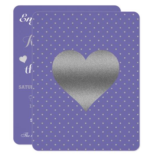 Singrün und Silber-Herz-u. Polka-Punkt-Party-Karte 10,8 X 14 Cm Einladungskarte