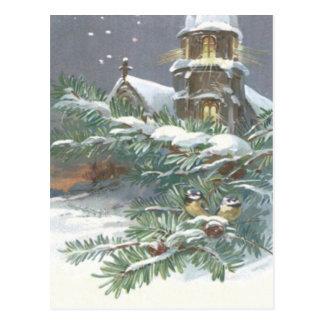 Singvogel-immergrüne Kirchen-christlicher Postkarte