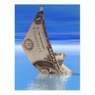 Sinkender Dollar Postkarte