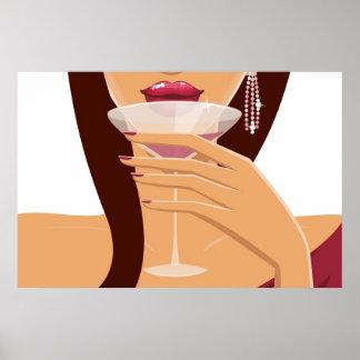 Sinnliches Cocktail-Mädchen-Plakat Poster