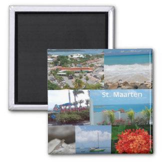 Sint Maarten-Heiliges Maarten-Foto-Collage Quadratischer Magnet
