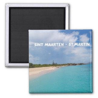 Sint Maarten - St- Martinstrand-Szene Quadratischer Magnet