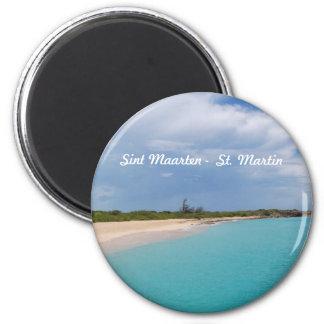 Sint Maarten - St- Martinstrand-Szene Runder Magnet 5,1 Cm