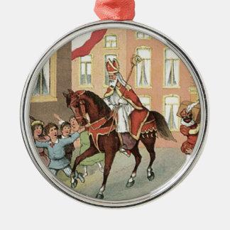 Sinterklaas niederländisches St.-Nick Vintager Rundes Silberfarbenes Ornament