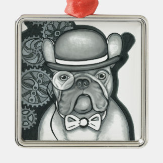 Sir Bouledogue Quadratisches Silberfarbenes Ornament
