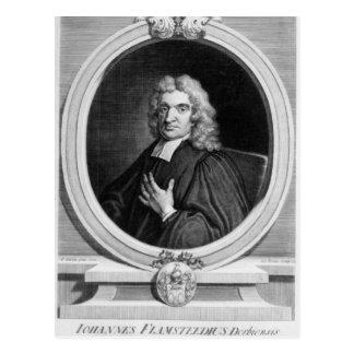 Sir John Flamsteed, graviert von George Vertue Postkarte