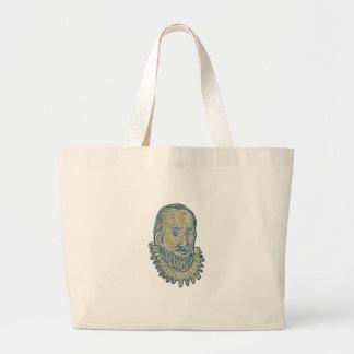 Sir Walter Raleigh Bust Drawing Jumbo Stoffbeutel