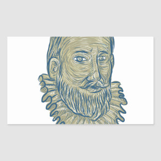 Sir Walter Raleigh Bust Drawing Rechteckiger Aufkleber