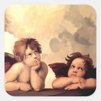 Sistine Madonna Engel Raffaelo Sanzio Quadratsticker