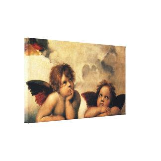 Sistine Madonna, Engelsdetail durch RAPHAEL Leinwanddruck