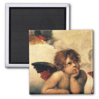 Sistine Madonna, Engelsdetail durch RAPHAEL Quadratischer Magnet