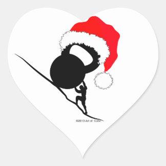 Sisyphus Kettlebell frohe Weihnachten Herz-Aufkleber