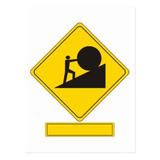 Sisyphus Verkehrsschild Postkarten