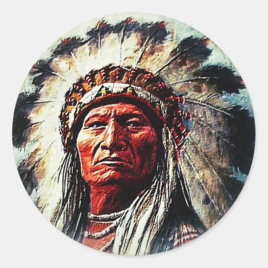 Sitting Bull Runder Aufkleber