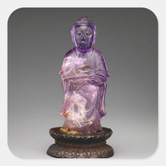 Sitzbuddha - Qing-Dynastie (1644-1911) Quadratischer Aufkleber
