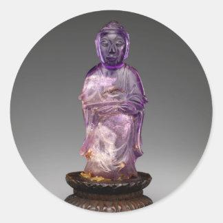 Sitzbuddha - Qing-Dynastie (1644-1911) Runder Aufkleber