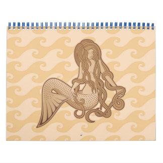 Sitzende Meerjungfrau Abreißkalender
