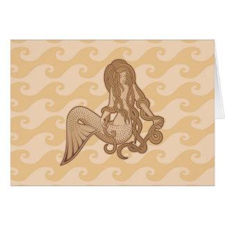 Sitzende Meerjungfrau Grußkarte