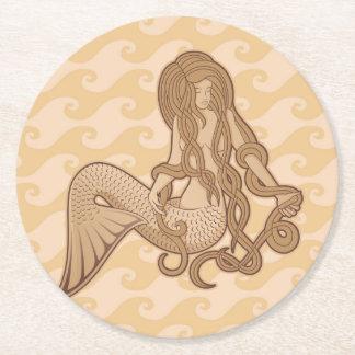Sitzende Meerjungfrau Runder Pappuntersetzer