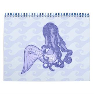 Sitzendes Meerjungfrau-Blau Kalender