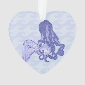 Sitzendes Meerjungfrau-Blau Ornament