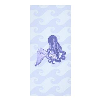 Sitzendes Meerjungfrau-Blau Werbekarte