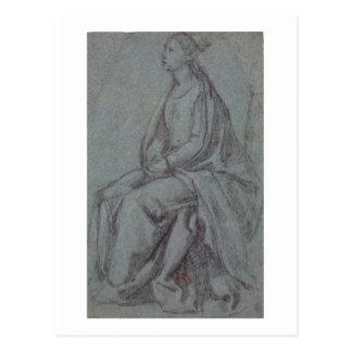 Sitzfrau, c.1514 (schwarze u. weiße Kreide auf Postkarte