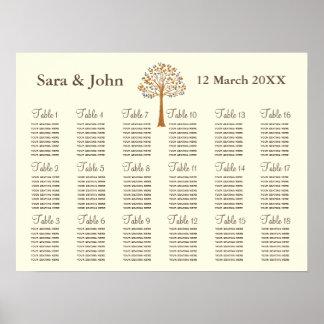Sitzplatz-Diagramm Hochzeit des Fallbaums Poster
