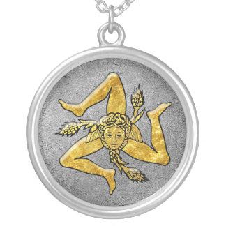Sizilianisches Trinacria im Gold auf Silber Halskette Mit Rundem Anhänger
