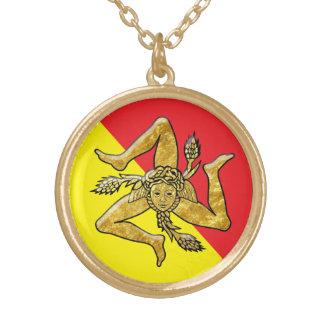 Sizilianisches Trinacria im Gold Halskette Mit Rundem Anhänger