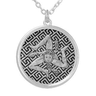 Sizilianisches Trinacria im Silber Halskette Mit Rundem Anhänger